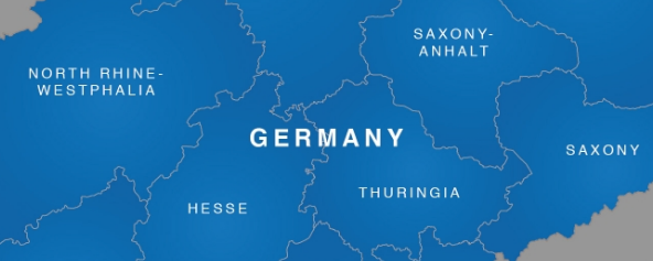 Map of Germany with Anglicised names