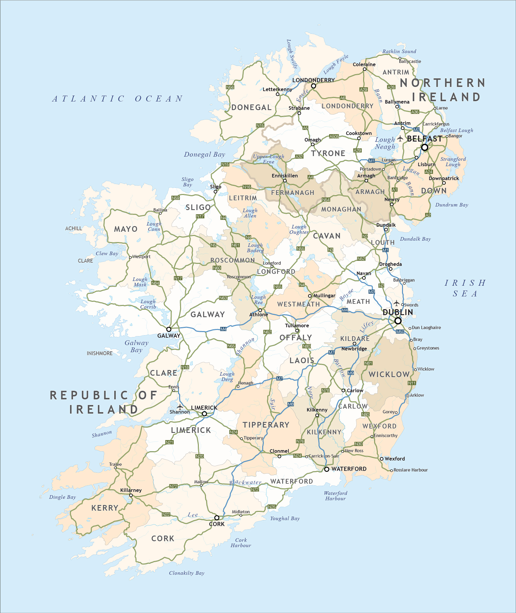 Road Map Of Ireland With Counties.Political Map Of Ireland Royalty Free Editable Vector