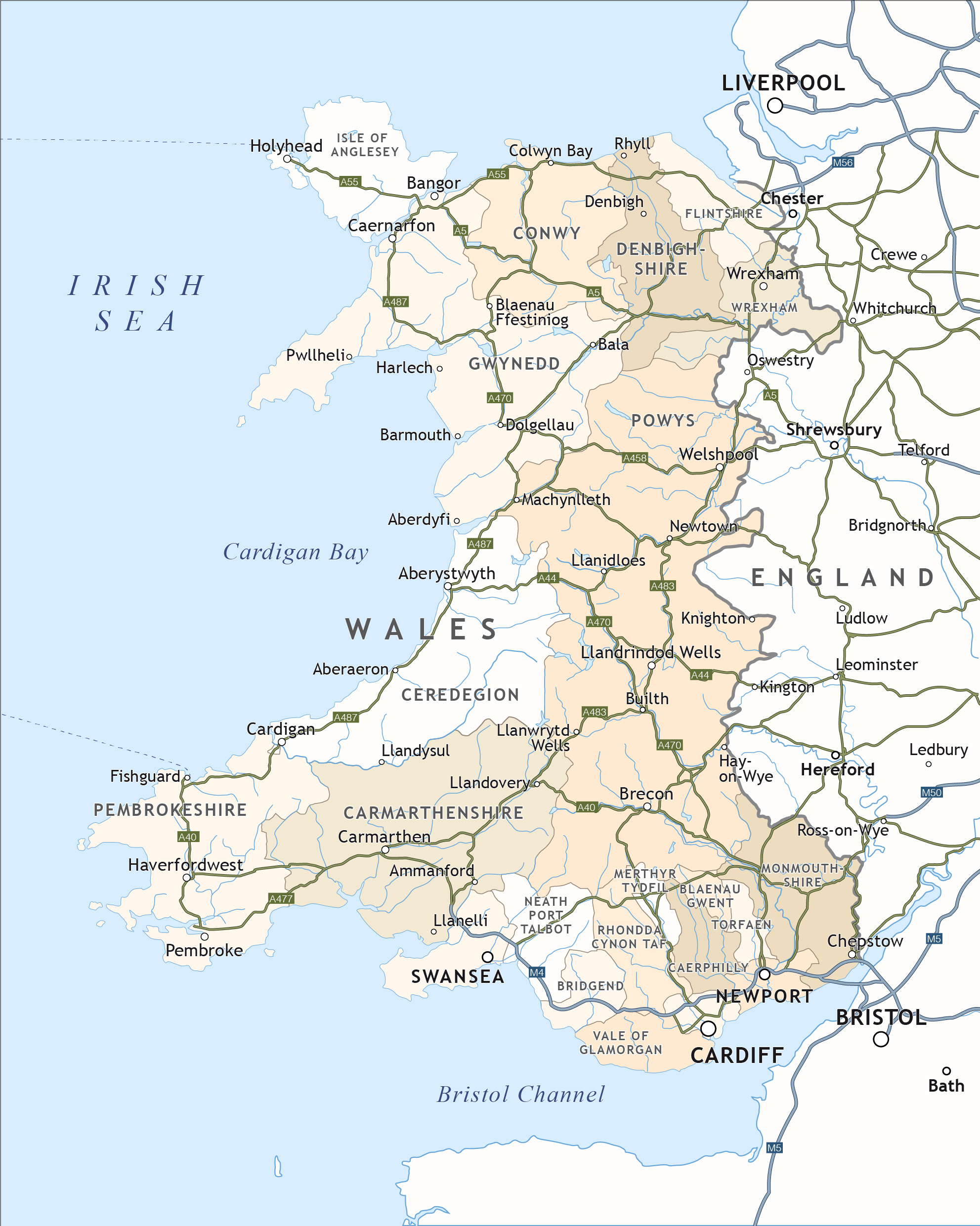 Map Of Wales Uk.Political Map Of Wales Royalty Free Editable Vector Map Maproom