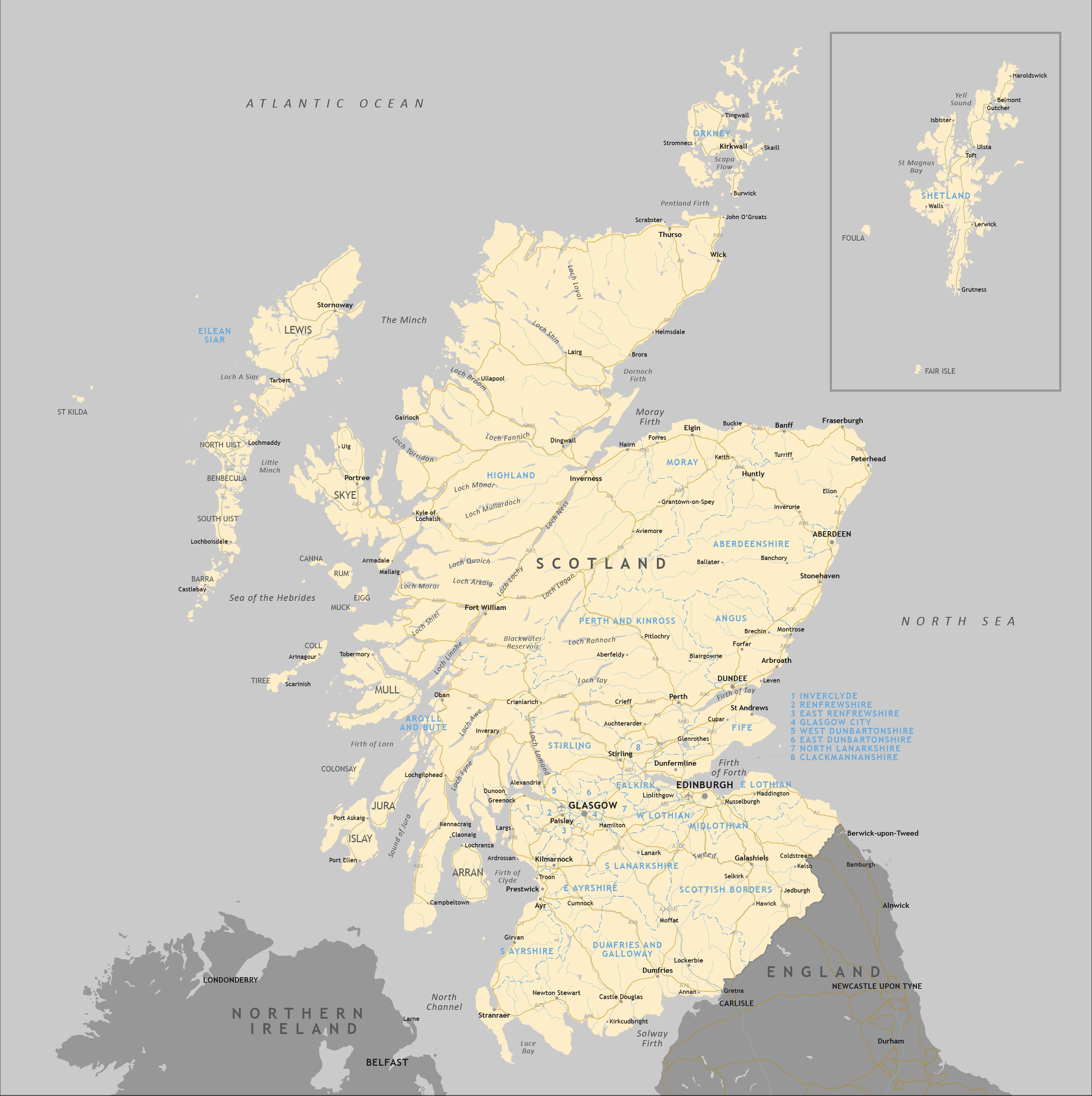 Political map of Scotland - royalty free editable vector map ... on map of english channel, republic of ireland, edinburgh castle, map of united kingdom, northern ireland, map of ireland, map of philippines, isle of man, united states of america, william wallace, scottish highlands, map of european countries, map of british isles, map of jersey, united kingdom, map of shetland islands, loch ness, map of stonehenge, map of united states, map of world, map of uk, map of denmark, map of manchester, map of the low countries, map of austria, map of wales, map of rhine river, map of jordan, flag of scotland, map of alberta, great britain, scottish people,