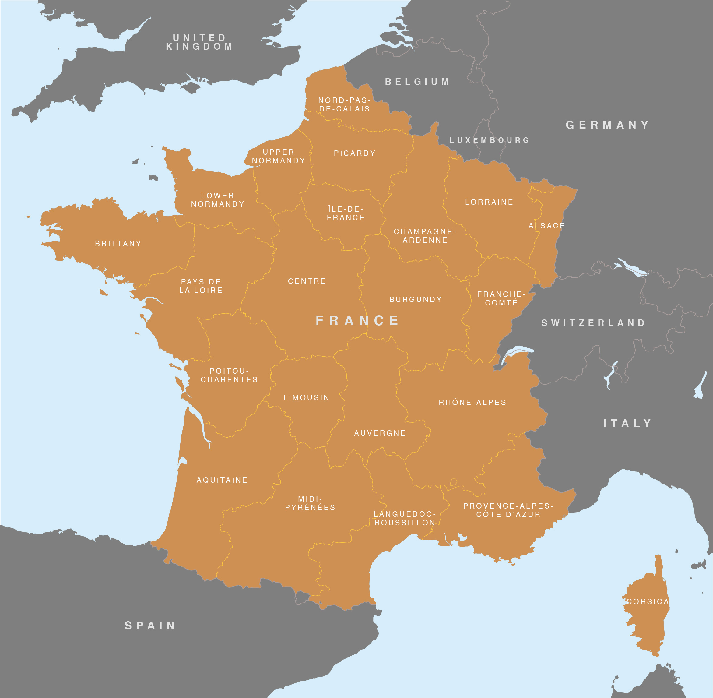 Map Of France French Regions Royalty Free Editable Base Map