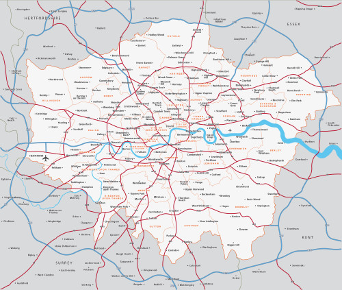 London Map Areas.Map Of Greater London Districts And Boroughs Maproom