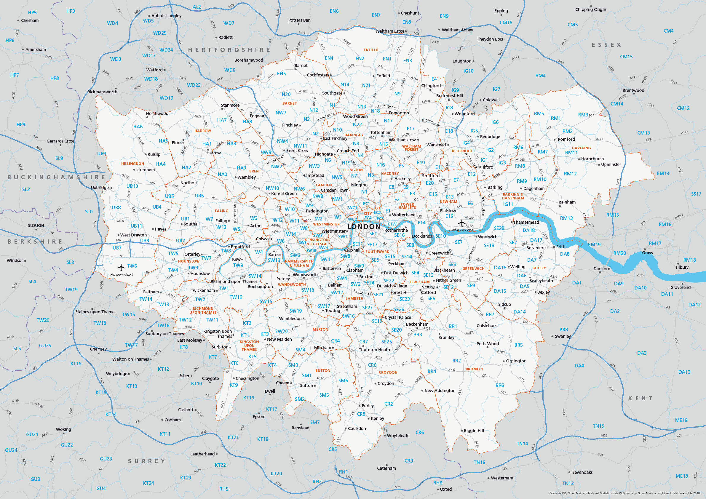 Map of Greater London postcode districts plus boroughs and