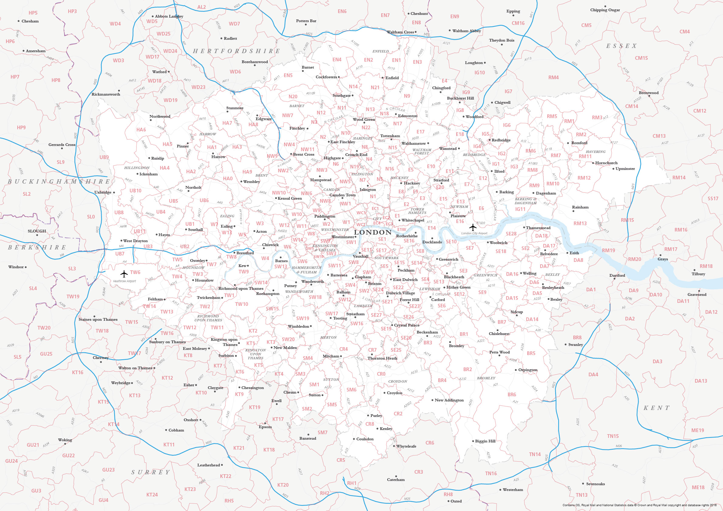 Map Of Greater London Postcode Districts Plus Boroughs And Major
