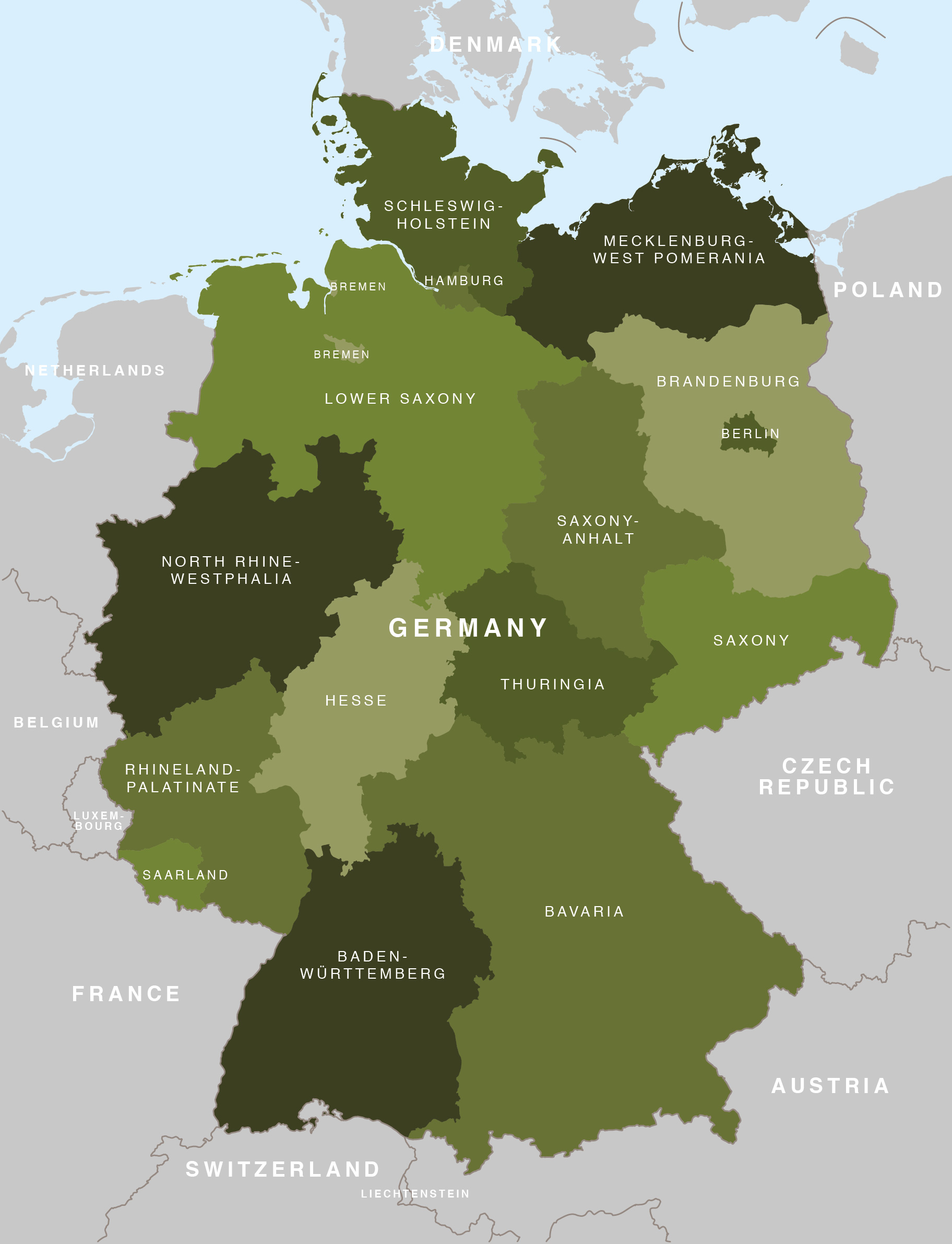 Map Of Germany Regions.Map Of Germany German States Bundeslander Maproom