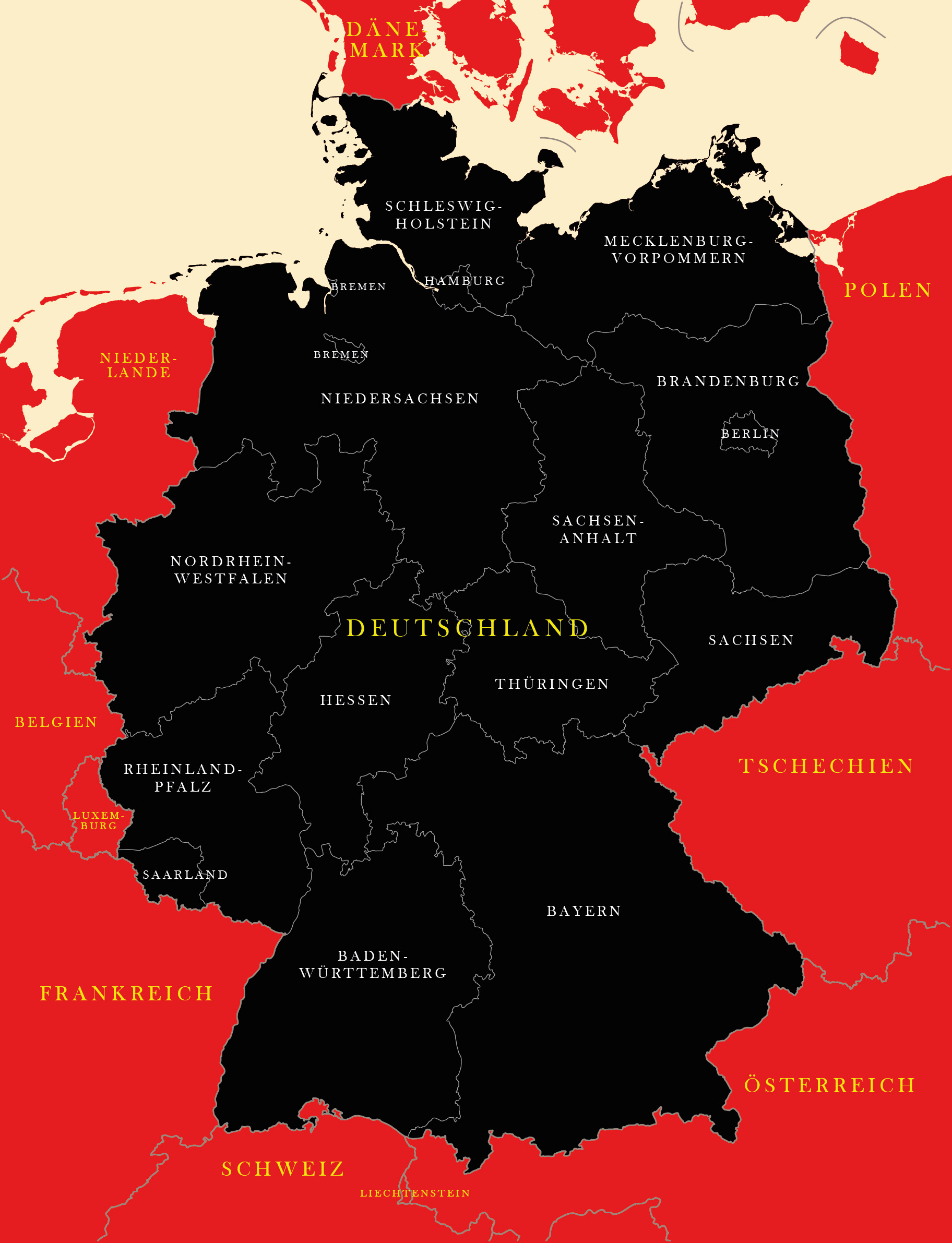 Map Of Germany German States Bundeslander Maproom