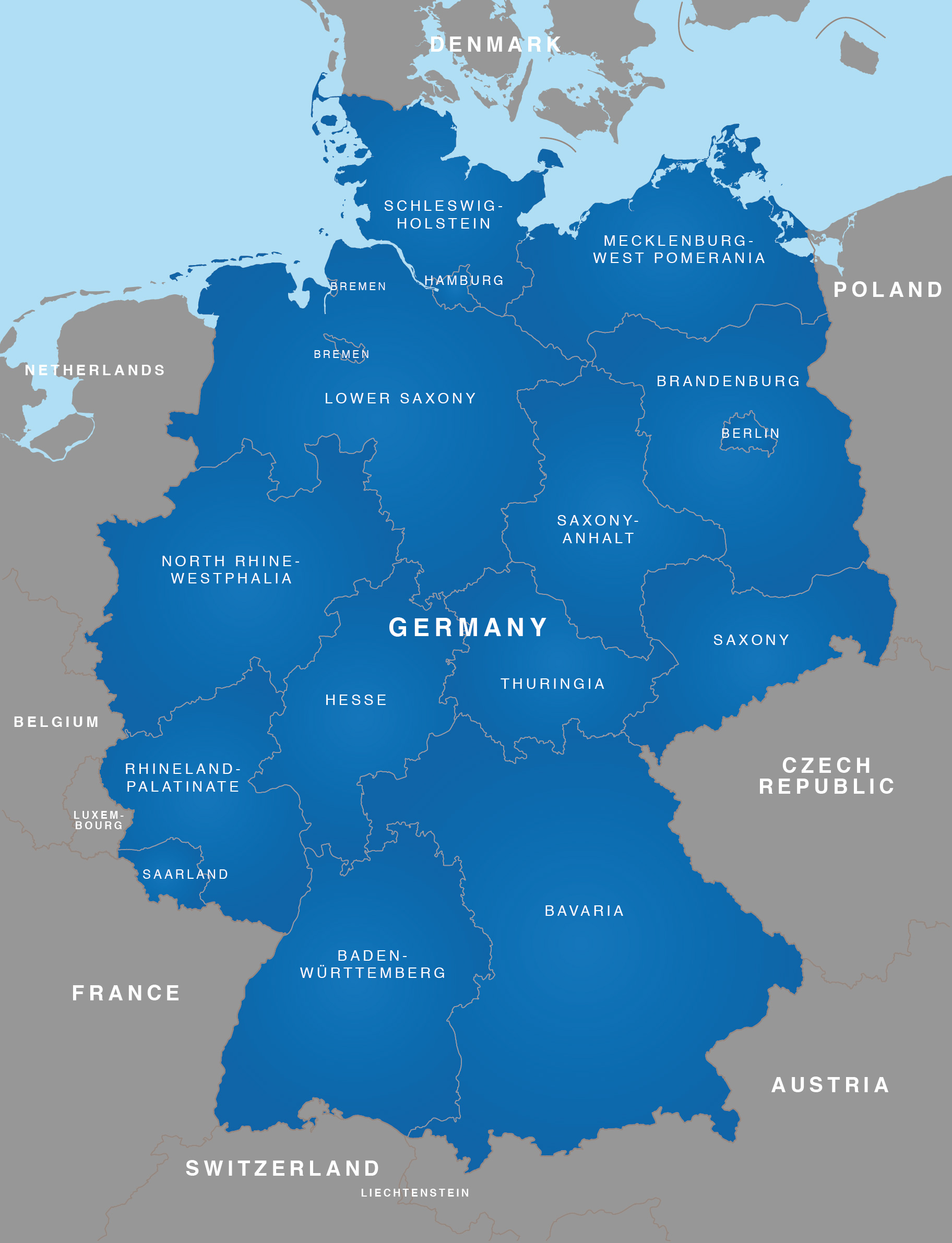 Regions Of Germany Map.Map Of Germany German States Bundeslander Maproom